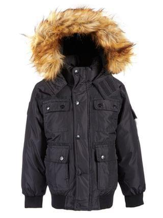 KIDS Little Boys Bomber Parka Jacket with Faux-Fur Trim