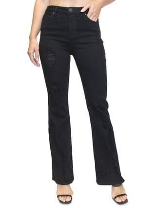 WOMEN Juniors' Distressed Flare Jeans