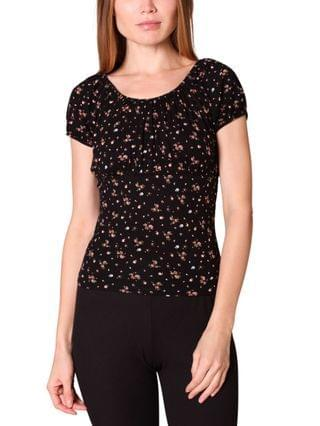 WOMEN Juniors' Ruched Floral-Print Top