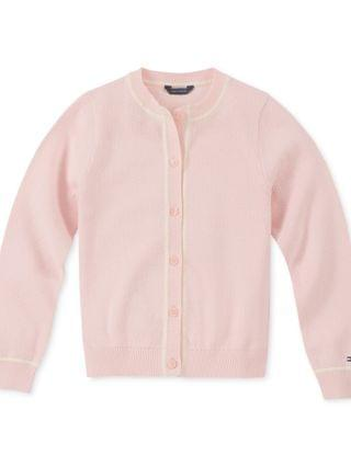 KIDS Little Girls Contrast-Trim Cotton Cardigan