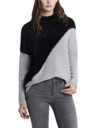 WOMEN Diagonal Color block Turtleneck Sweater