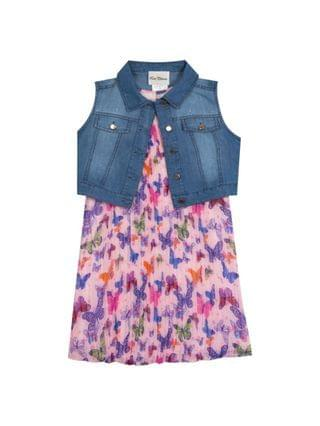 KIDS Little Girls Pleated Dress with Denim Vest