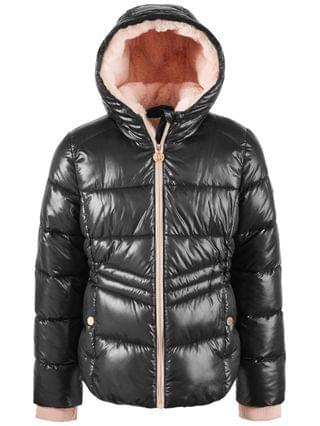 KIDS Big Girls' Hooded Puffer Jacket With Faux-Fur Lining