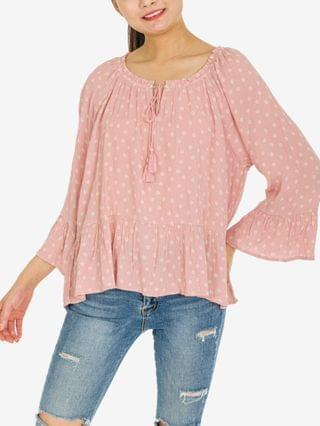 WOMEN Juniors' Ruffled Peplum Top