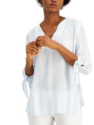 WOMEN Petite Striped Tie-Cuff Top