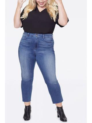 WOMEN Plus Size Marilyn Straight Ankle Jeans in Sure Stretch Denim with Raw Hem