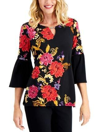 WOMEN Floral-Print Bell-Sleeve Keyhole Tunic Top Created for Macy's