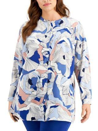 WOMEN Plus Size Printed Collarless Blouse Created for Macy's
