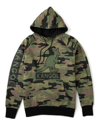 MEN Camouflage Fleece Hoodie with Chest and Sleeve Print