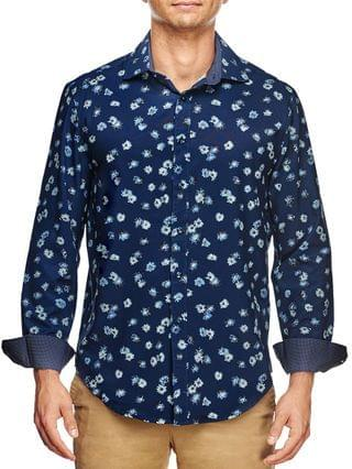 MEN Slim Fit Tossed Flower Print Long Sleeve Shirt and a Free Face Mask