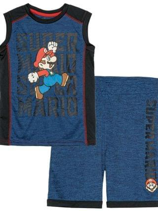 KIDS Little Boys Super Mario Jump Active Tank Top and Shorts Set 2 Piece
