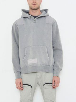 MEN Classic Hooded Sweater with Half Button Neck and Contrast Patches