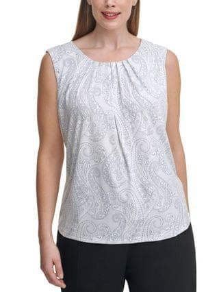 WOMEN Plus Size Paisley-Print Pleat-Neck Top
