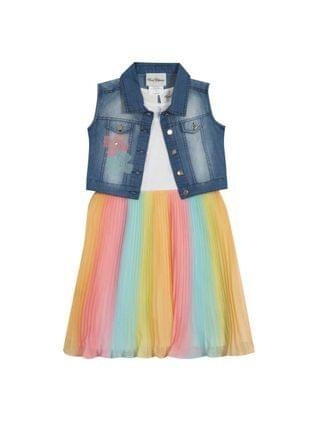 KIDS Toddler Girls Ombre Pleated Dress with Denim Vest