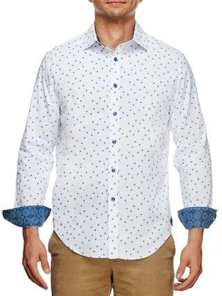 MEN Slim Fit Flower Geo Print Long Sleeve Shirt and a Free Face Mask