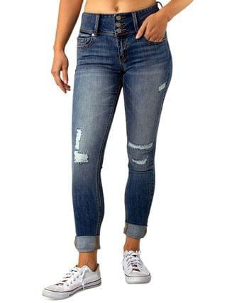 WOMEN Juniors' Triple-Button Ripped Cuffed Jeans