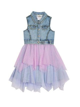 KIDS Little Girls Denim Dress with Mesh Skirt