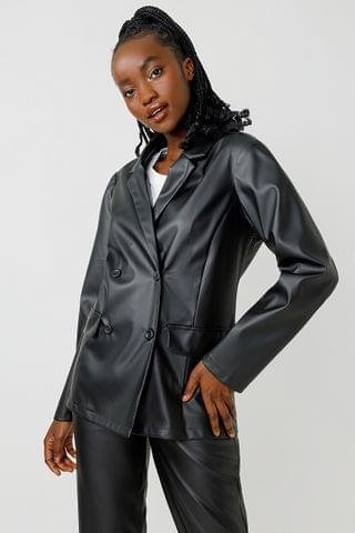 WOMEN Pleather Double Breasted Blazer