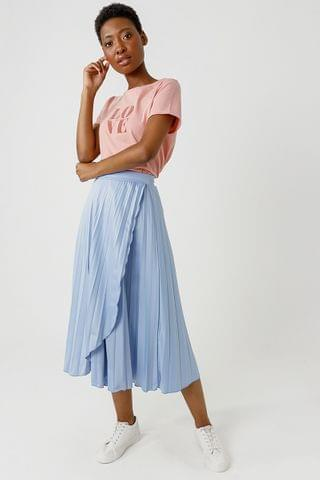 WOMEN Pleated Wrap Skirt