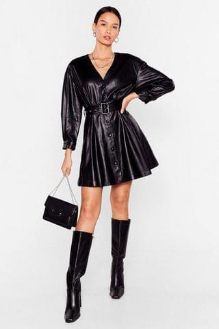 WOMEN Faux Leather Without You Belted Mini Dress