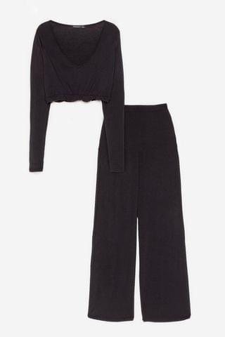 WOMEN Back to Bed Top and Wide-Leg Pants Pajama Set