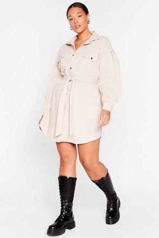 WOMEN Get On Cord-uroy Plus Belted Shirt Dress