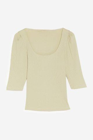 WOMEN Puff Sleeve an Impression Square Neck Ribbed Top