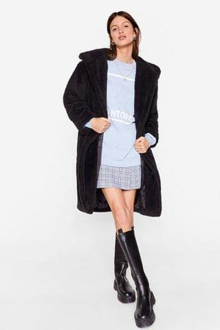 WOMEN Teddy Steady Go Faux Fur Longline Coat