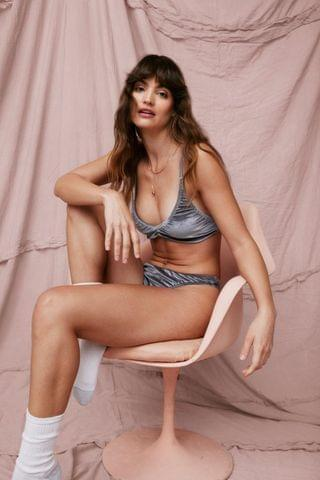 WOMEN There's No Ruche Velvet Bralette and Panty Set