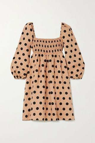WOMEN FAITHFULL THE BRAND + NET SUSTAIN Dallia shirred polka-dot linen mini dress