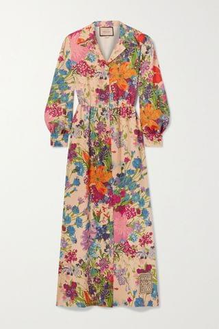 WOMEN GUCCI + Ken Scott appliqu d floral-print metallic georgette shirt dress