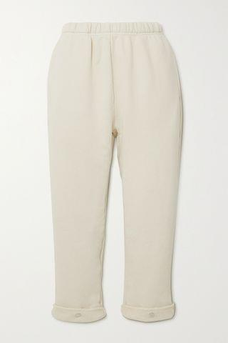 WOMEN LES TIEN Cropped cotton-jersey track pants