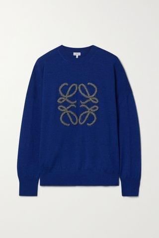 WOMEN LOEWE Embroidered wool-blend sweater