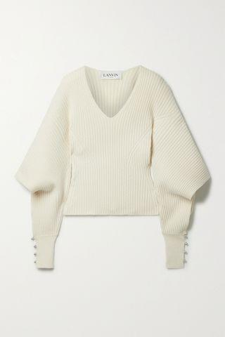 WOMEN LANVIN Cutout embellished ribbed wool and cashmere-blend sweater