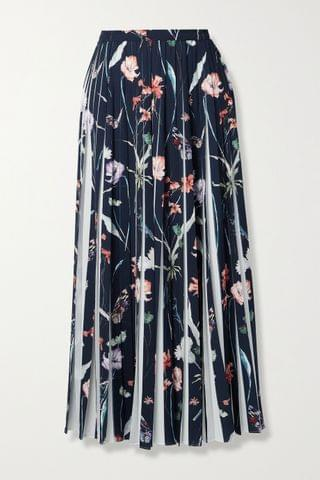 WOMEN JASON WU COLLECTION Pleated floral-print crepe midi skirt