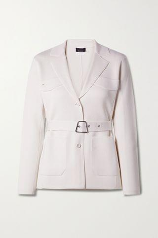 WOMEN AKRIS Belted wool and mulberry silk-blend blazer