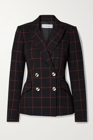WOMEN DEREK LAM 10 CROSBY Ady double-breasted checked cotton-blend twill blazer