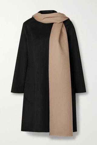 WOMEN THEORY Convertible draped two-tone wool and cashmere-blend coat