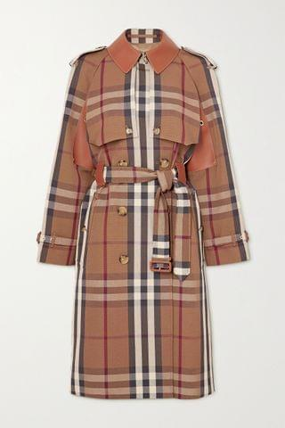 WOMEN BURBERRY Double-breasted checked gabardine and leather trench coat