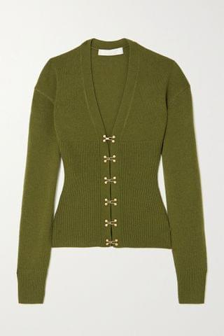 WOMEN DION LEE Ribbed wool and cashmere-blend cardigan