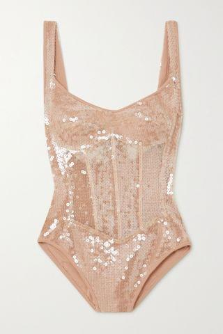 WOMEN DAVID KOMA Sequined tulle and jersey bodysuit