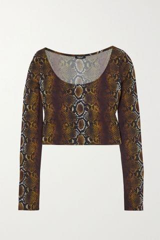 WOMEN VERSACE Cropped snake-print stretch-crepe top