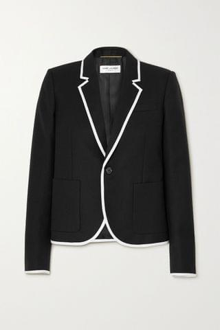 WOMEN SAINT LAURENT Piped wool blazer