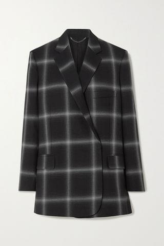 WOMEN STELLA MCCARTNEY Oversized checked wool-twill blazer