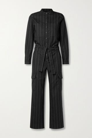 WOMEN THE RANGE Zoot belted pinstriped crepe jumpsuit