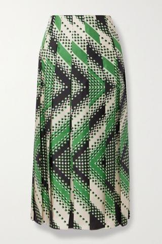 WOMEN GUCCI Pleated printed silk-twill midi skirt
