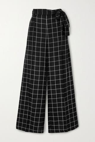 WOMEN MOTHER OF PEARL + NET SUSTAIN Wendy belted checked twill wide-leg pants