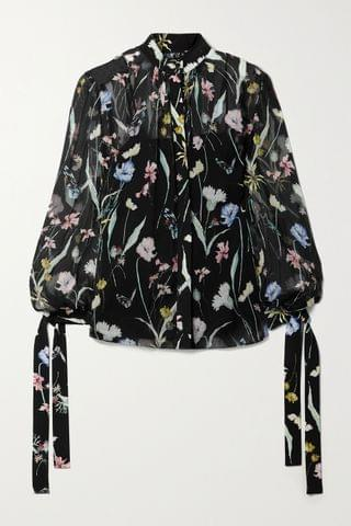 WOMEN JASON WU COLLECTION Floral-print silk-crepon blouse