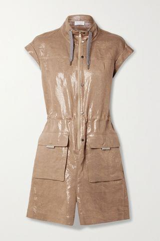 WOMEN BRUNELLO CUCINELLI Metallic linen-twill playsuit