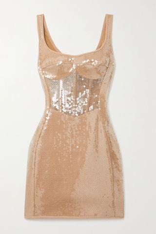 WOMEN DAVID KOMA Sequined tulle and cady mini dress